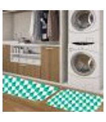 kit tapete lavanderia geometric único 40x80