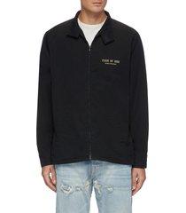 logo print cotton poplin jacket