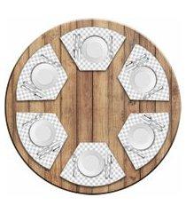 jogo americano love decor  para mesa redonda wevans xadrez kit com 6 pçs