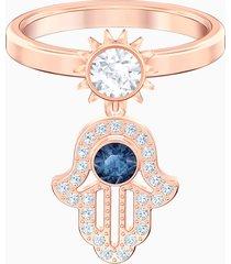 anello con motivo swarovski symbolic, azzurro, placcato oro rosa