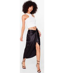 womens truly madly deeply satin midi skirt - black
