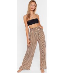 womens straight to the beach striped cover-up pants - mustard
