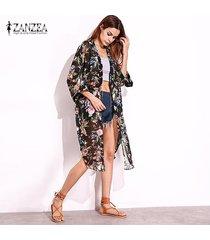 zanzea retro 2018 de bohemia kimono cardigan camisas mujeres flojas de tres cuartos blusas de gasa verano ocasional ropa de playa tops blusas negro -negro