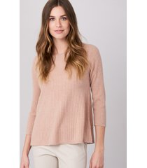 geribde cashmere pullover in a-lijn