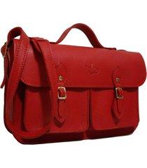 bolsa line store leather satchel pockets média couro vermelho