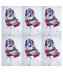 kit com 06 capas para cadeira charles eames eiffel wood londres