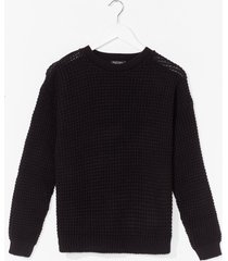 womens crew neckline and ribbed edges knit sweater - black