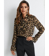 yoins basics blusa con cordones de leopardo marrón diseño blusa con ribete de volantes