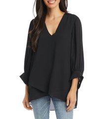 women's karen kane asymmetric blouson sleeve top, size small - black