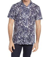 men's bugatchi print shaped fit short sleeve button-up shirt, size xxx-large - blue