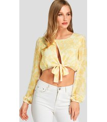 yellow cut out floral print knotted crop top