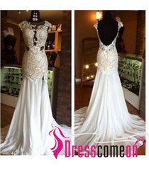 custom mermaid backless white prom dresses with a slit,evening/party dress l1