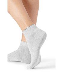 calzedonia extra short flat-knit bandless cotton socks woman grey size tu