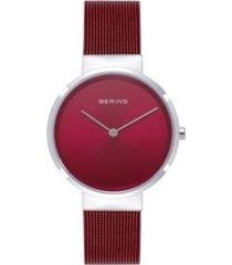 bering women's classic red stainless steel mesh bracelet watch 31mm