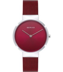 bering women's classic red stainless steel mesh bracelet watch 31mm
