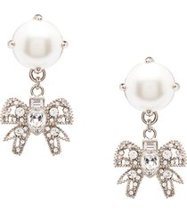 miu miu micro bow jewels earrings - silver