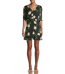 floral short-sleeve silk mini a-line dress