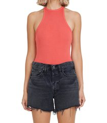women's agolde rianne ribbed racerback tank bodysuit, size large - coral