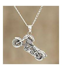 men's sterling silver pendant necklace, 'easy rider' (india)