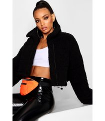 crop fleece oversized puffer jacket, black