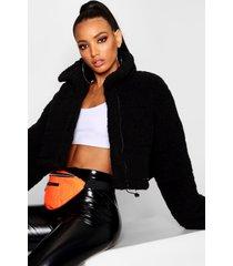 korte oversized gewatteerde fleece jas, zwart