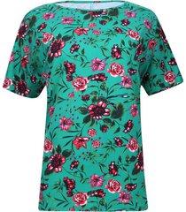 camiseta cuello barco flores