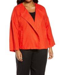 plus size women's eileen fisher organic linen drape front jacket, size 2x - red