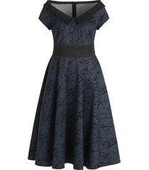 flat collar plant print vintage swing dress