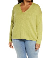 plus size women's eileen fisher v-neck boxy organic cotton & linen sweater, size 1x - green