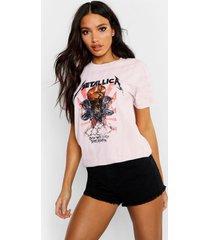 metallica t-shirt met washed slogan, roze