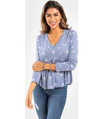 billie floral babydoll blouse - navy