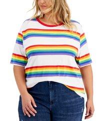 love tribe trendy plus size rainbow stripe ringer t-shirt