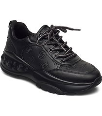 cleao/active lady/leather like snörade skor låga svart guess