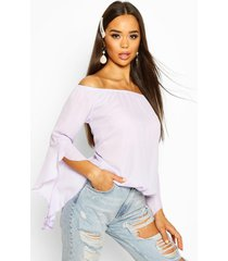 woven off the shoulder flute sleeve top, lilac