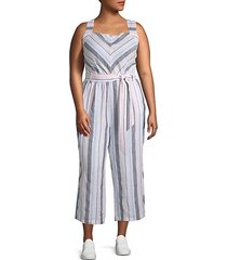 plus sorbet stripe linen jumpsuit