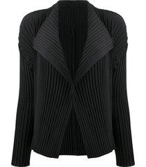 issey miyake micro-pleated jacket - black