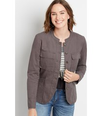 maurices womens solid button front military jacket gray
