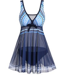 plunge mesh geometry tankini swimsuit