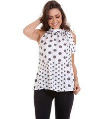 blusa kinara poá geométrica de amarrar na gola feminino