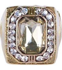 anel armazem rr bijoux cristal quadrado dourado
