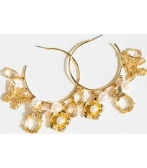 summer butterfly charm hoops - gold