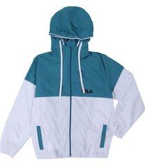 chaqueta azul turquesa-blanco fila