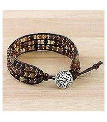 agate beaded wristband bracelet, 'toffee' (thailand)