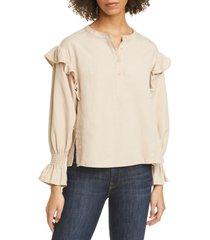 women's joie polli ruffle detail long sleeve blouse