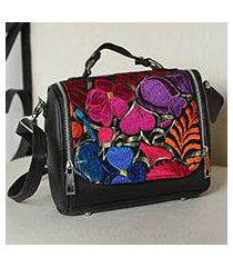 cotton accent leather handbag, 'oaxaca delight' (mexico)