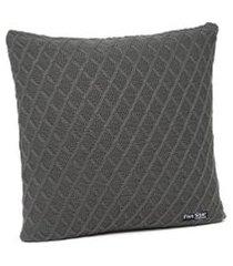 capa de almofada tricot 40x40 c/zíper sofa cod 354.5 grafite