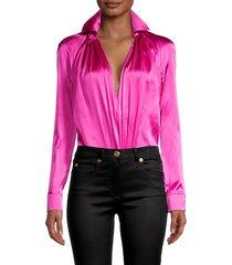 raglan-sleeve stretch-silk bodysuit