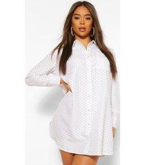 geweven oversized blouse jurk met stippen, wit