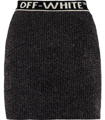 off-white knitted lurex skirt