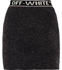 off-white knitted lurex skirt
